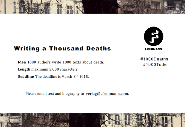 Writing a Thousand Deaths, Frohmann Verlag