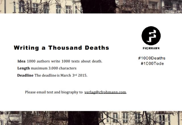 Writing a Thousand Deaths, Frohmann Verlag