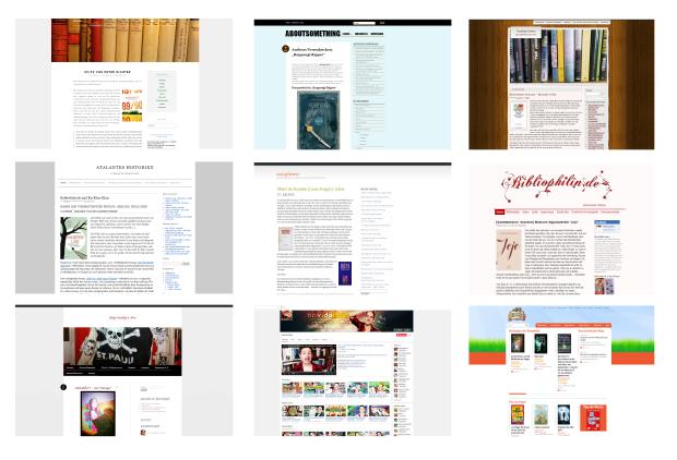 Buchblogs Screenshots Startseiten
